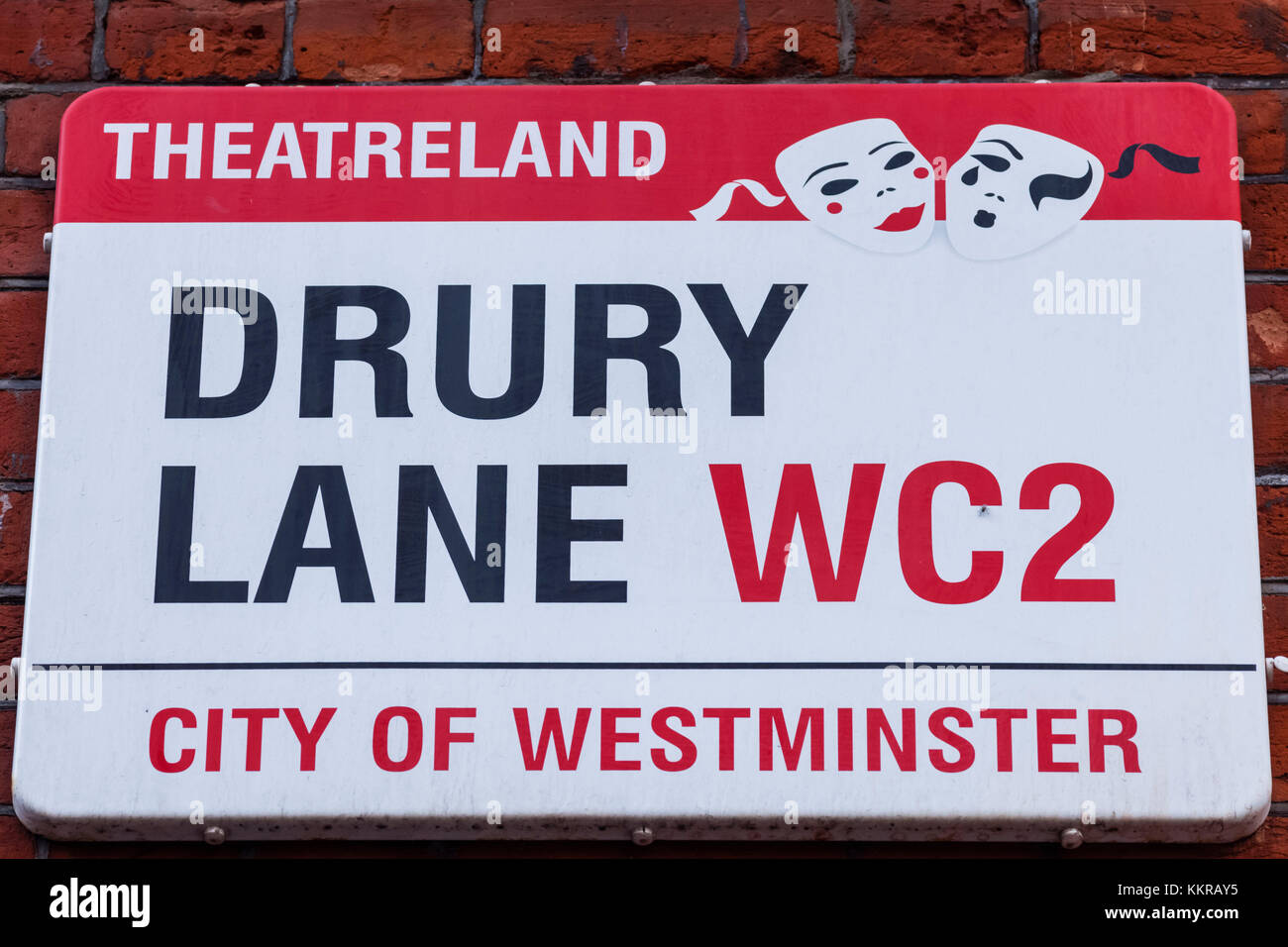 England, London, Westminster, Drury Lane Street Sign Stock Photo