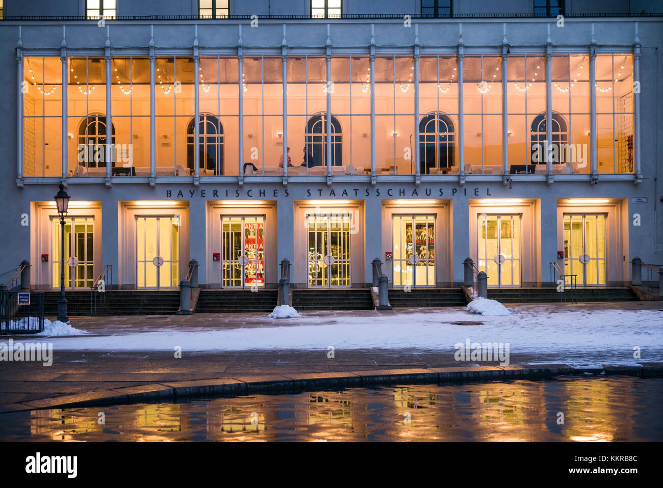 Germany, Bavaria, Munich, Bayerische Staatsoper, operahouse, evening - Stock Image