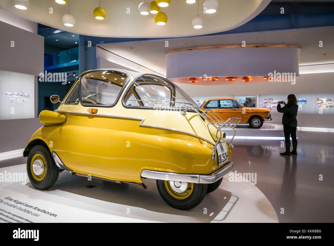 Germany, Bavaria, Munich, BMW Museum, 1955 BMW Isetta bubble car ...
