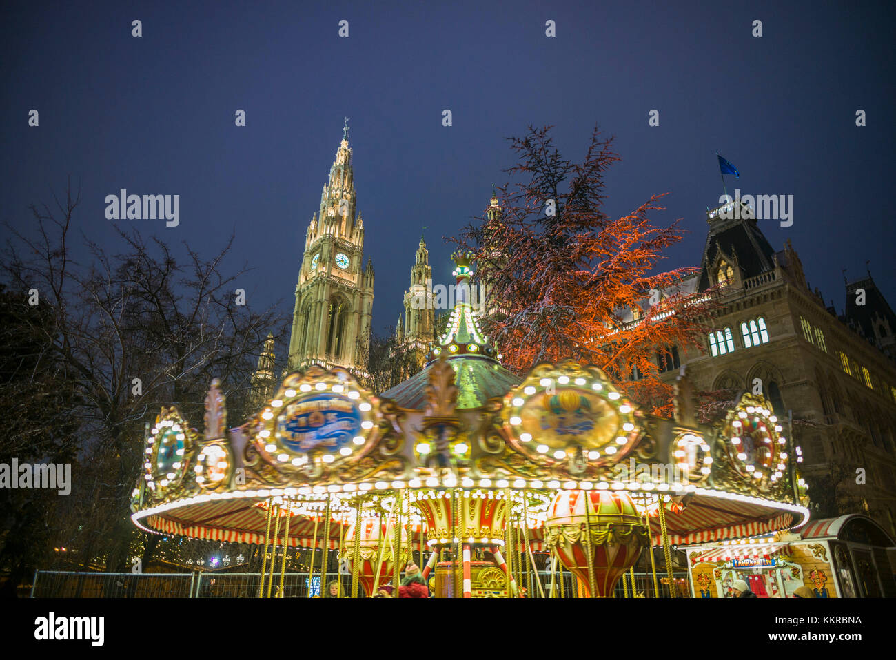 Austria, Vienna, Rathaus, Town Hall, Christmastime - Stock Image