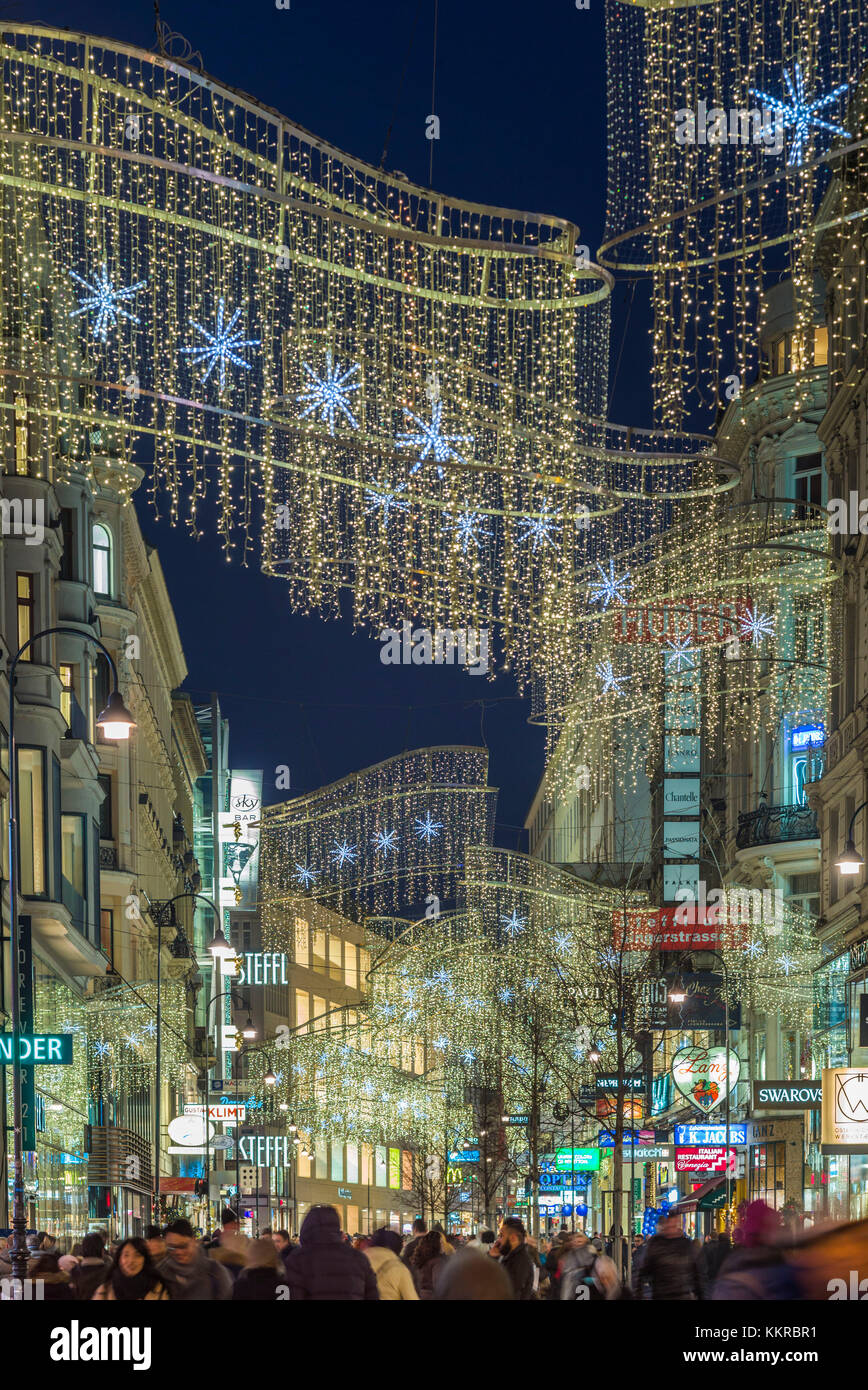 Austria, Vienna, Kartnerstrasse Shopping Street, Christmas Decorations,  Evening   Stock Image