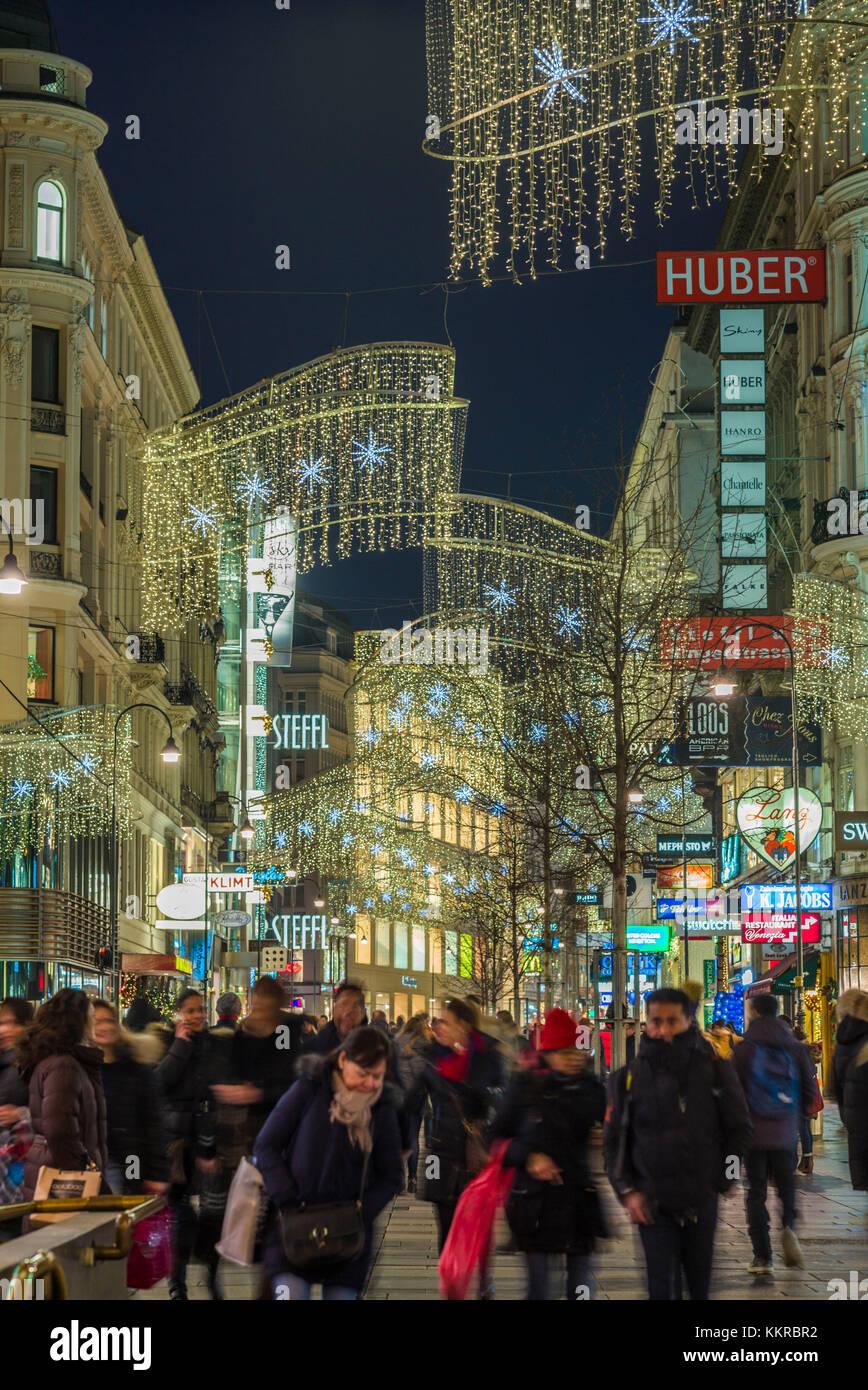 Austria, Vienna, Kartnerstrasse Shopping Street, Christmas Decorations,  Evening   Stock Image
