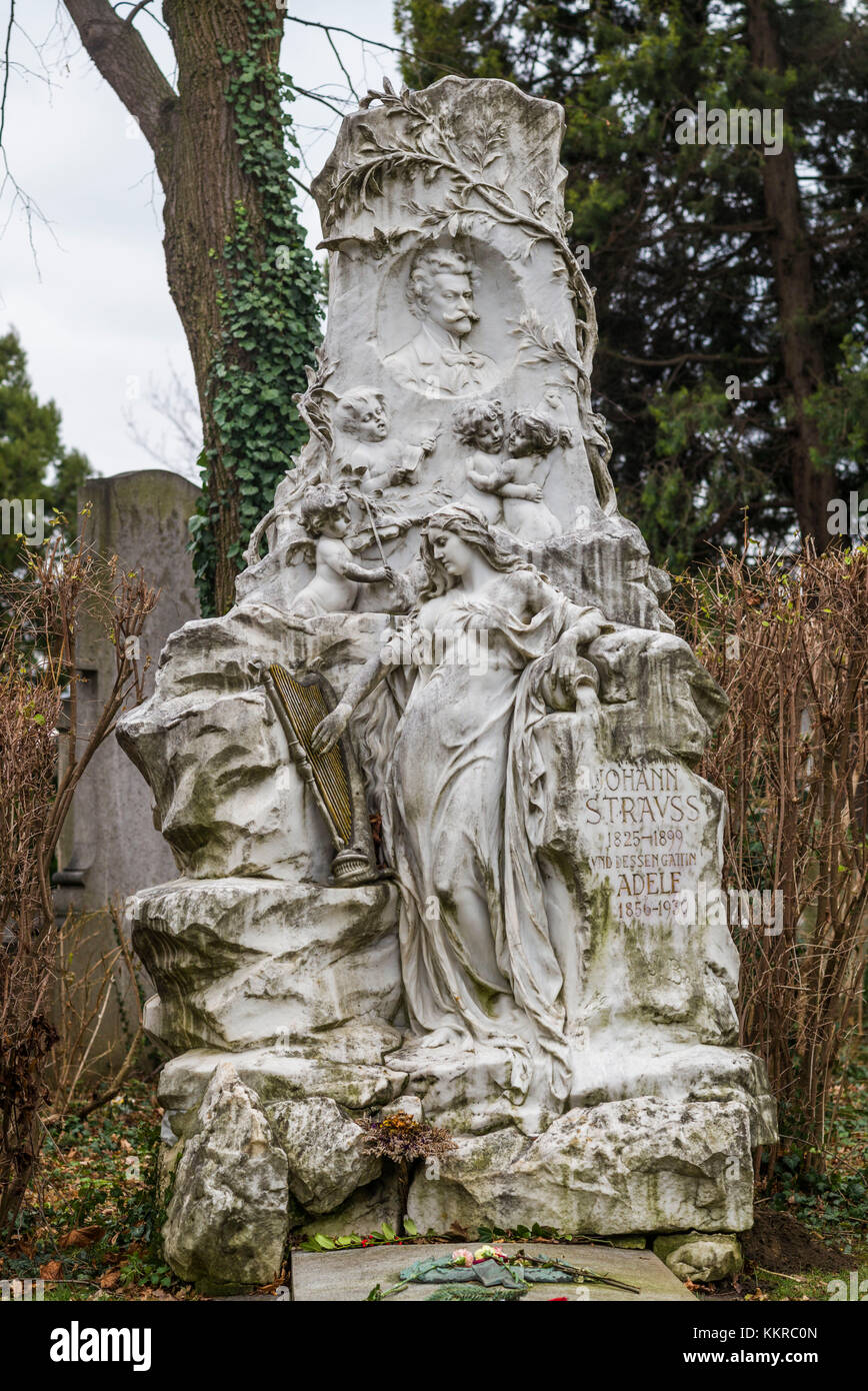 Austria, Vienna, Zentralfriedhof, Central Cemetery, grave of the composer Johann Strauss the Younger - Stock Image