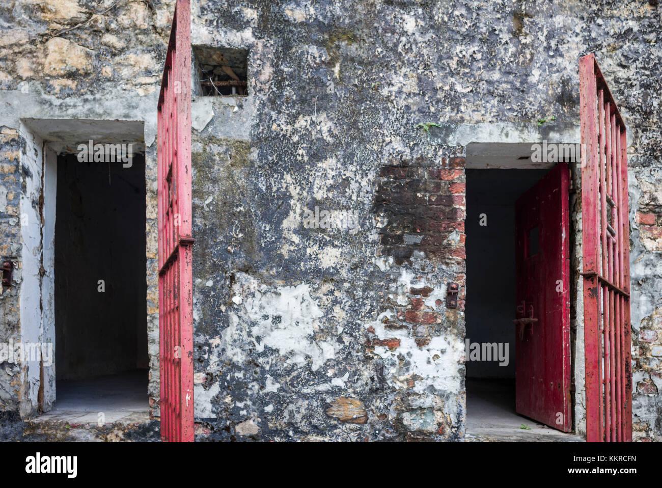 British Virgin Islands, Tortola, Road Town, HM Prison Museum, former prison, cellblock - Stock Image