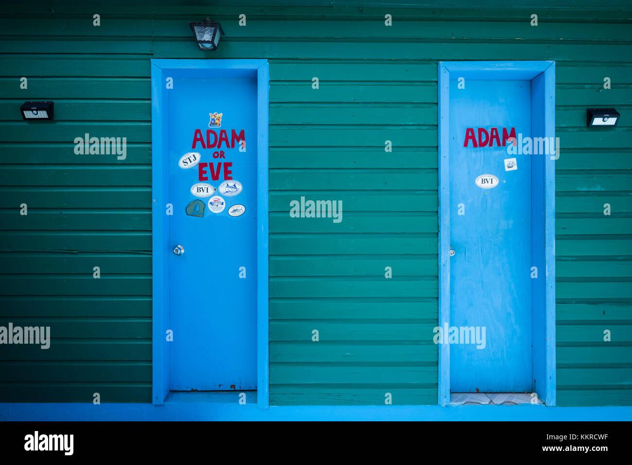 British Virgin Islands, Anegada, Loblolly Bay Beach, Big Bamboo Restuarant and Bar, restrooms - Stock Image