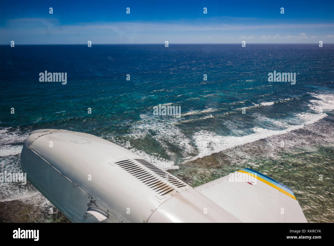 British Virgin Islands, Virgin Gorda, Taylors Bay, aerial view from propellor-driven aircraft - Stock Image