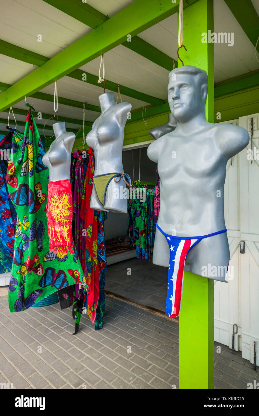 French West Indies, St-Martin, Orient Beach, bathing suits for sale - Stock Image