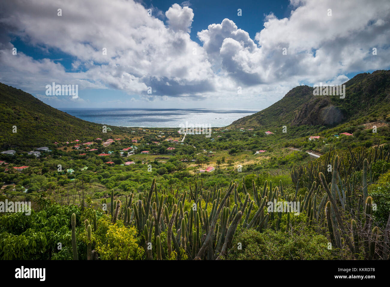 French West Indies, St-Barthelemy, Grand Fond, elevated landscape - Stock Image