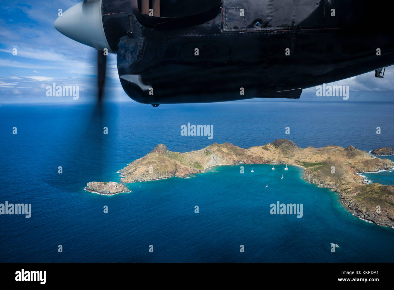 French West Indies, St-Barthelemy, aerial view from propellor-driver aircraft - Stock Image
