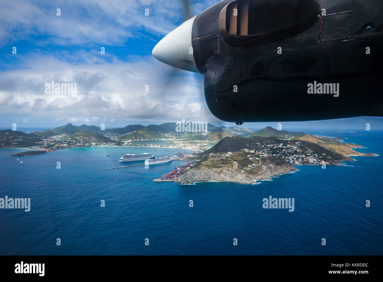 Netherlands, Sint Maarten, Philipsburg, aerial view from propellor-driven aircraft - Stock Image