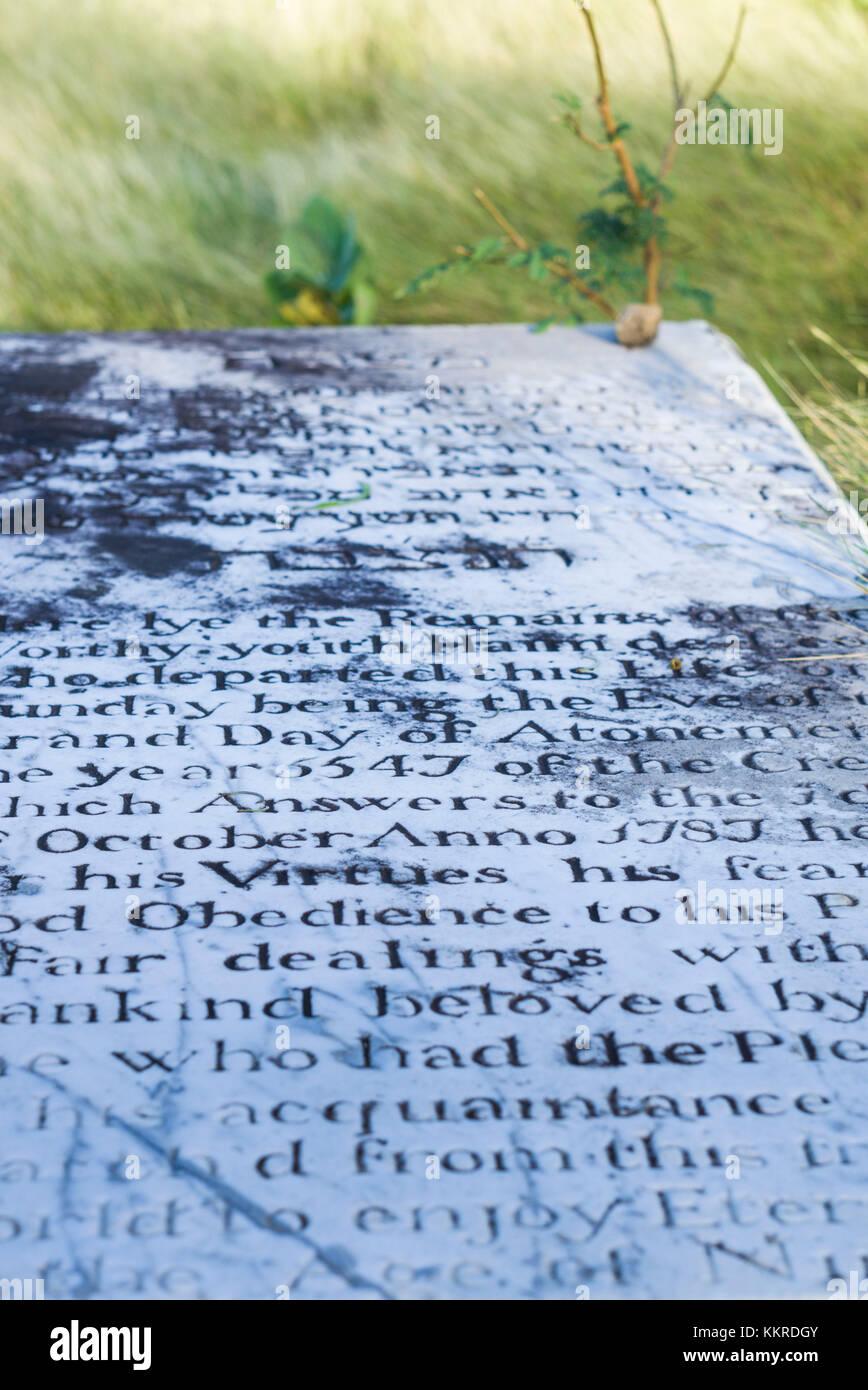 Netherlands, Sint Eustatius, Oranjestad, Jewish Cemetery, used from 1742-1843, gravestones - Stock Image