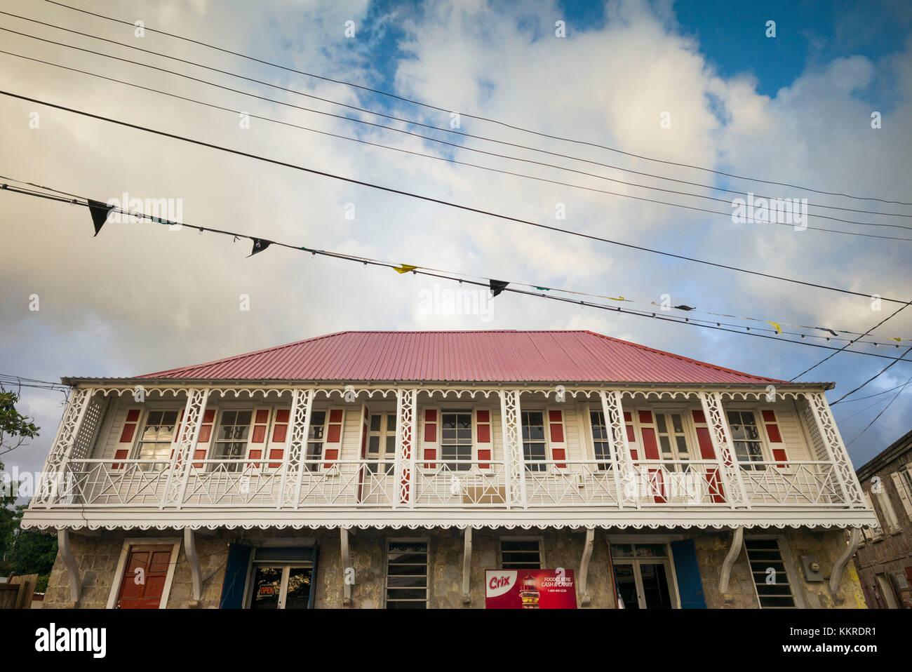 St. Kitts and Nevis, Nevis, Charlestown, town buidlings - Stock Image