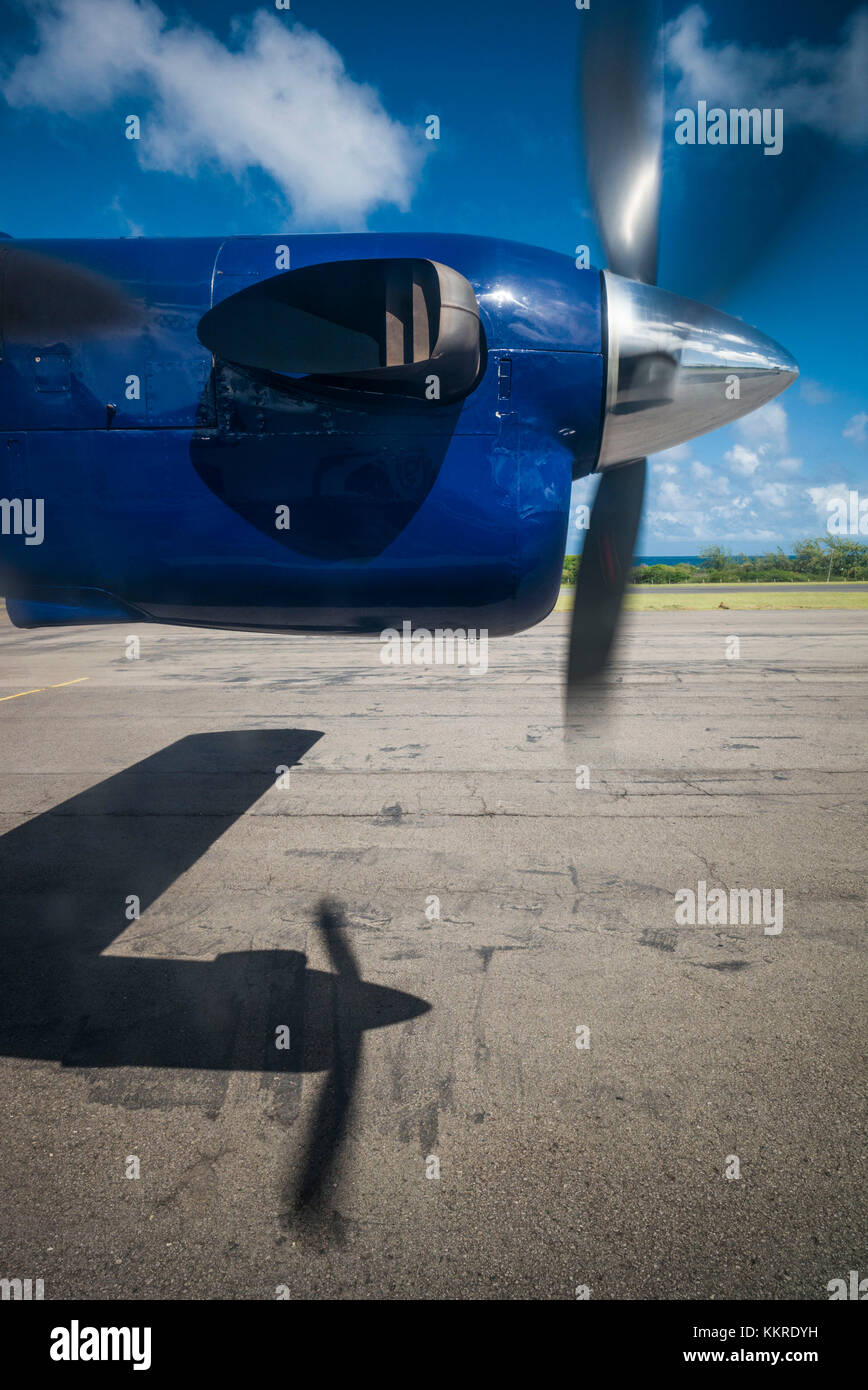 St. Kitts and Nevis, Nevis, Vance W. Amory International Airport, ground view from propellor-driven aircraft - Stock Image