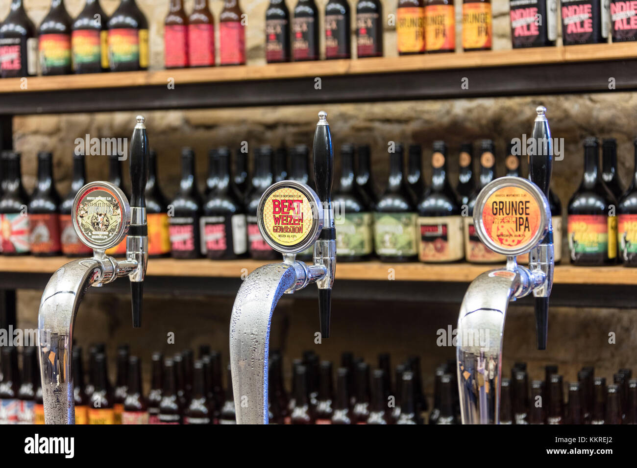 Draft beer in the canteen of the monastery of Astino, Longuelo, province of Bergamo, Lombardy, Italy, Europe - Stock Image