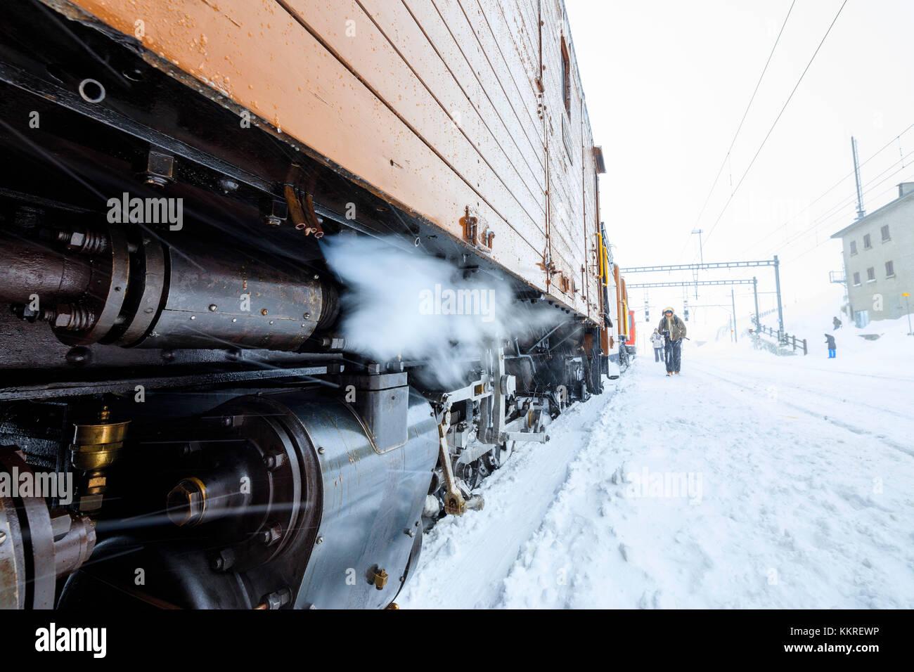 Details of the snowplow of Bernina Express train, Ospizio Bernina, Poschiavo, canton of Graubünden, Engadin, - Stock Image
