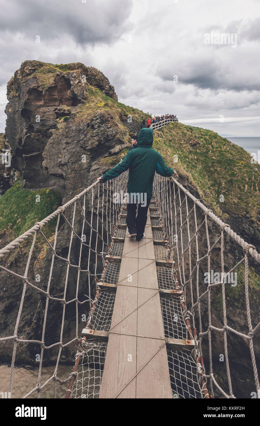 The Carrick a Rede Rope Bridge, Northern Ireland, Antrim, Ballycastle, Ballintoy, United Kingdom. - Stock Image