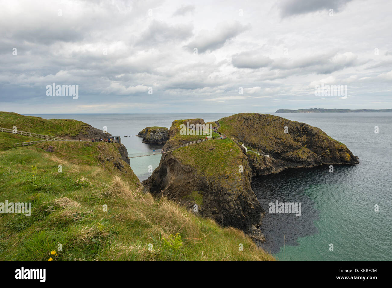 The Carrick a Rede Rope Bridge, Northern Ireland, Antrim, Ballycastle, Ballintoy, United Kingdom. - Stock Image