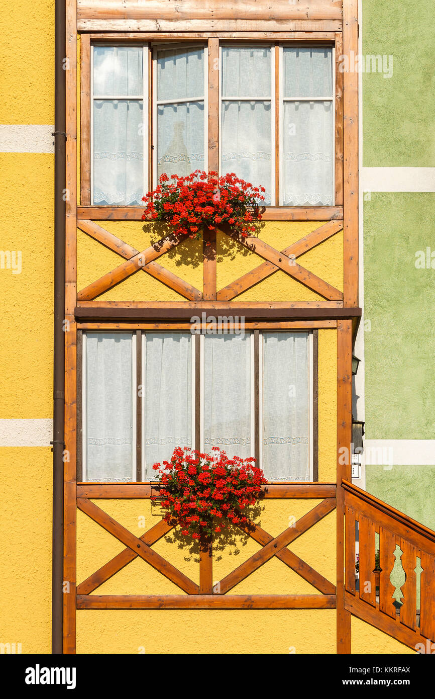 A detail of a home of San Martino di Castrozza, Trento province, Trentino Alto Adige, Italy, Europe Stock Photo
