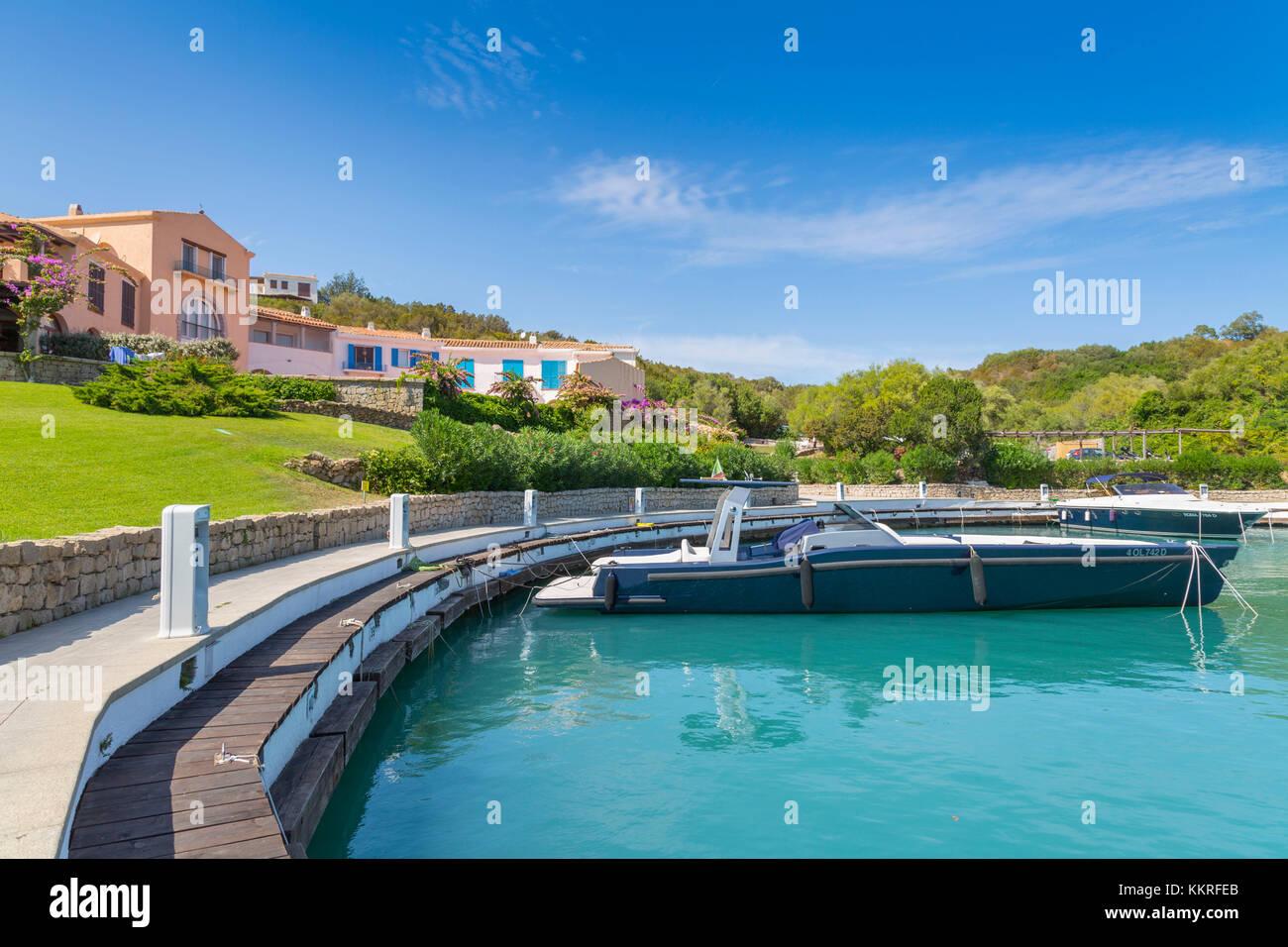 Marina di Porto Oro boathouse, Marinella (Olbia), Olbia-Tempio province, Sardinia district, Italy - Stock Image