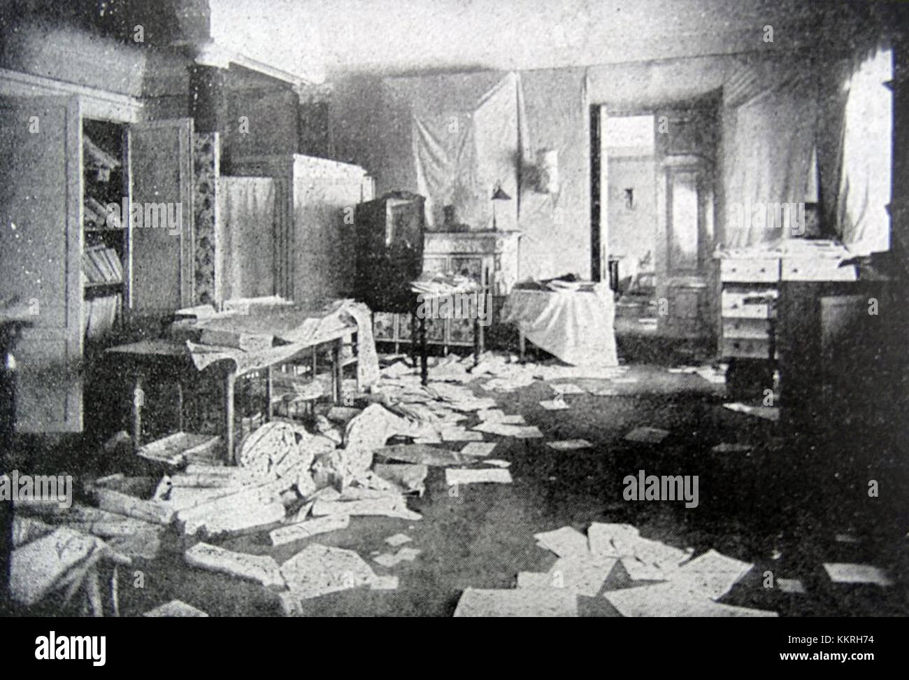 Room of Grand Duchess Tatiana looted during the Russian revolution - Stock Image