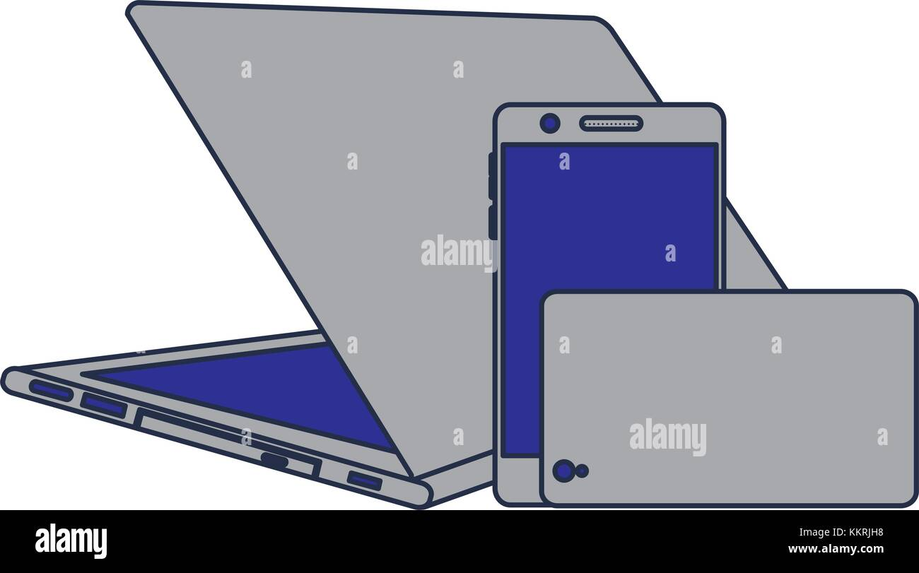 set of modern digital device laptop pair mobile phone - Stock Image