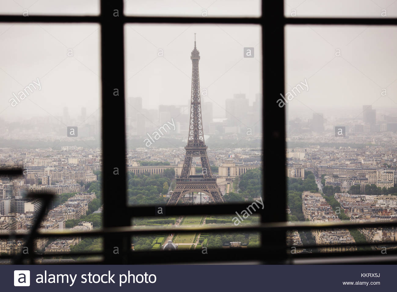 View of the streets of Paris from the heights. Travel through Europe. Attractions in France. Cloudy Paris. Clouds Stock Photo