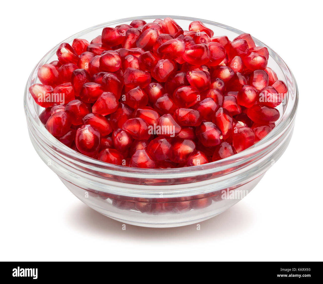pomegranate seeds bowl path isolated - Stock Image