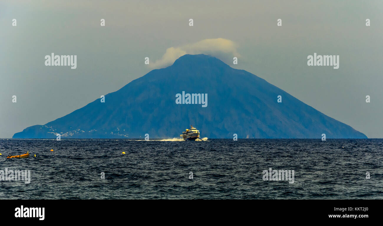 Still today we can see the flares and stromboli fumaroles - Stock Image