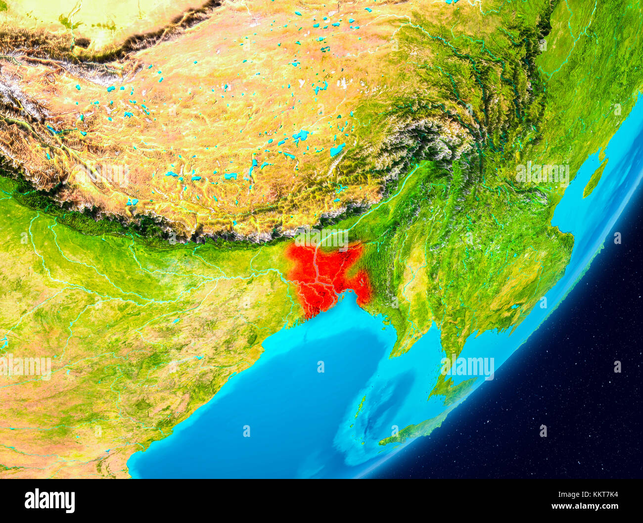 Map of Bangladesh as seen from space on planet Earth. 3D Stock Photo ...