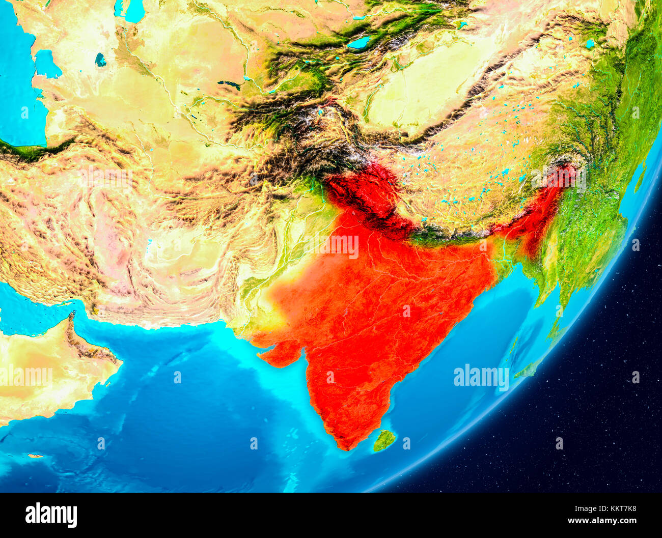map of india as seen from space on planet earth 3d illustration elements of