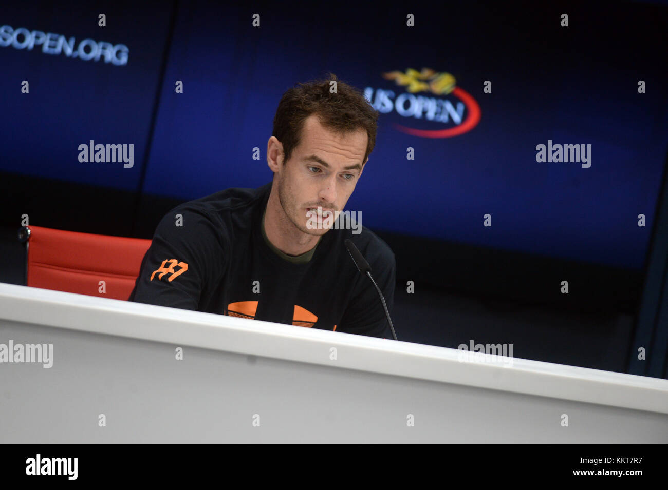 NEW YORK, USA - AUGUST 26: Andy Murray speaks during a press conference ahead of 2017 US Open Tennis Championships - Stock Image