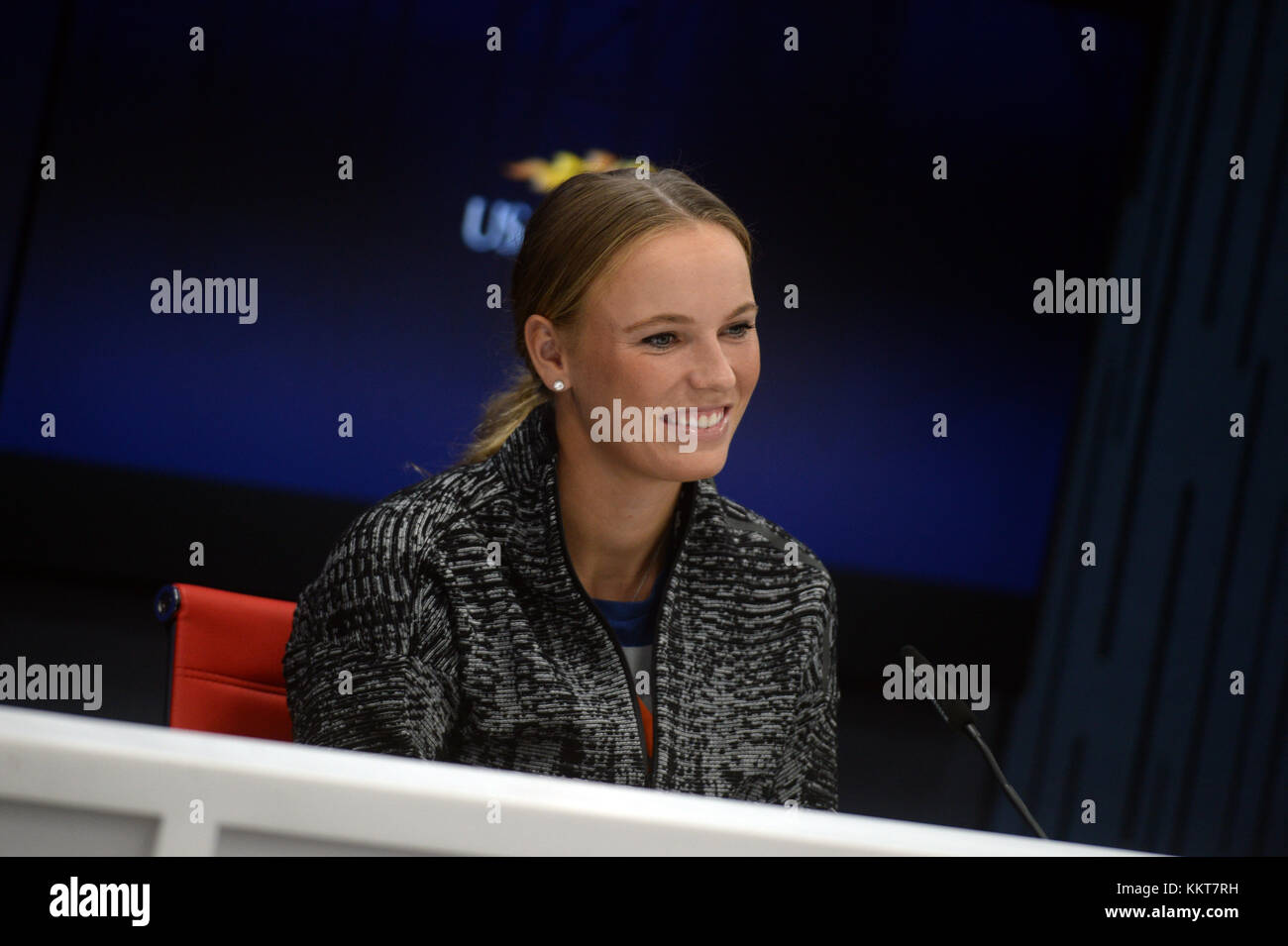 NEW YORK, USA - AUGUST 26: Caroline Wozniacki speaks during a press conference ahead of 2017 US Open Tennis Championships - Stock Image