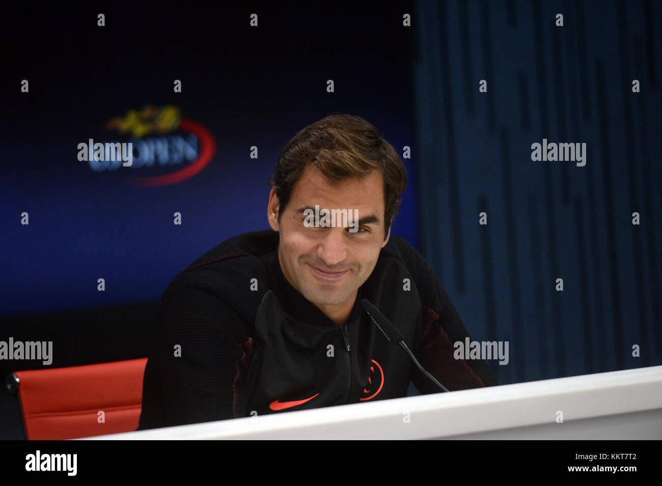 NEW YORK, USA - AUGUST 26: Roger Federer speaks during a press conference ahead of 2017 US Open Tennis Championships - Stock Image