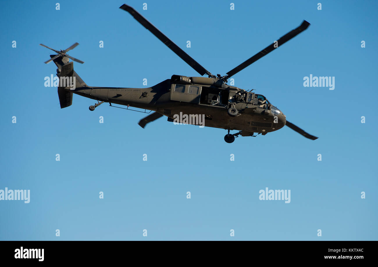 Sikorsky UH-60 Black Hawk Helicopter in flight at Gowen Thunder Airshow on October 14 2017 - Stock Image