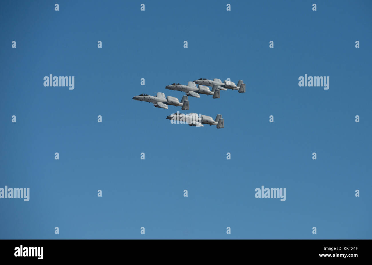 A-10 Thunderbolt II 'Warthogs' flying in formation at 'Gowen Thunder 2017 Airshow' in Boise Idaho - Stock Image
