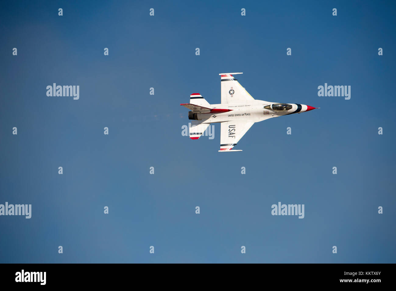 USAF F-16 Fighting Falcon Thunderbird performing at Gowen Thunder airshow at Gowen Field in Boise Idaho on October - Stock Image