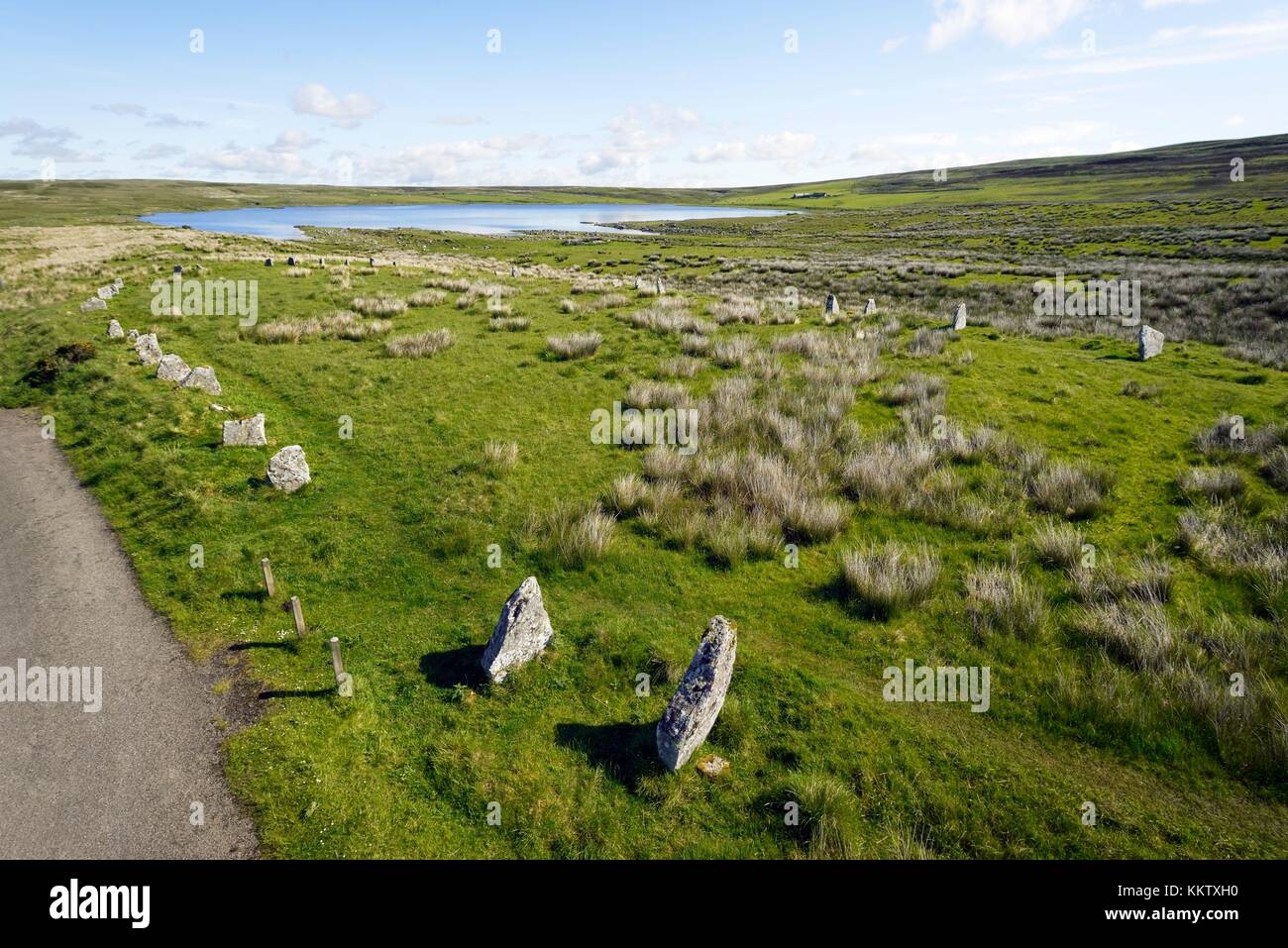 Achavanich Stone Setting 4000 year prehistoric U shaped stone alignments. Lybster, Caithness, Scotland - Stock Image