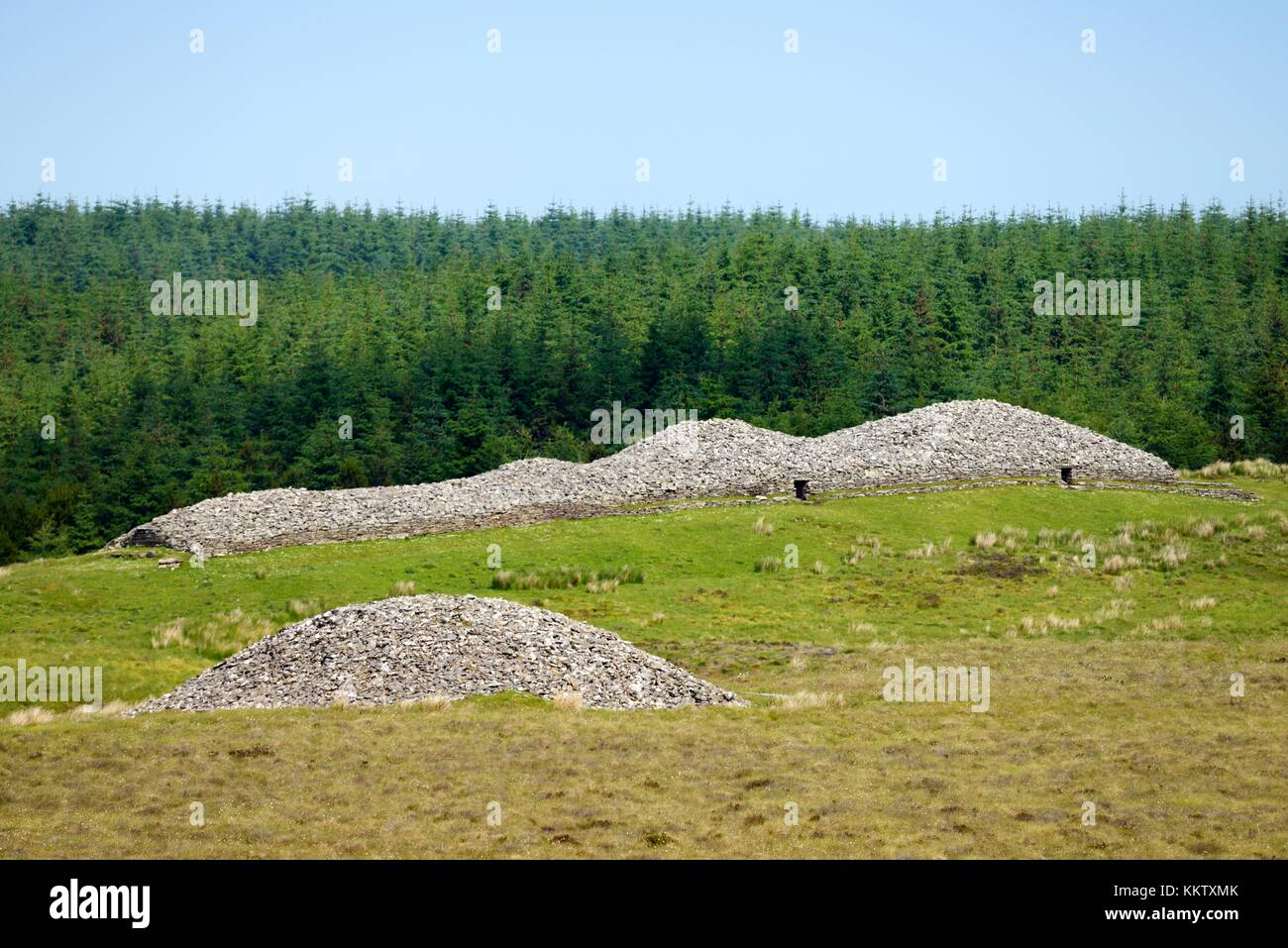 Over Camster Round to Camster Long. The two Grey Cairns of Camster 5000 year Neolithic burial chambers. Caithness, - Stock Image
