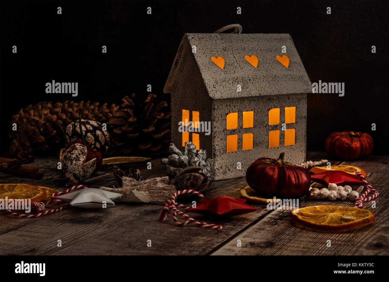 Hygge House with Christmas Decorations - Stock Image