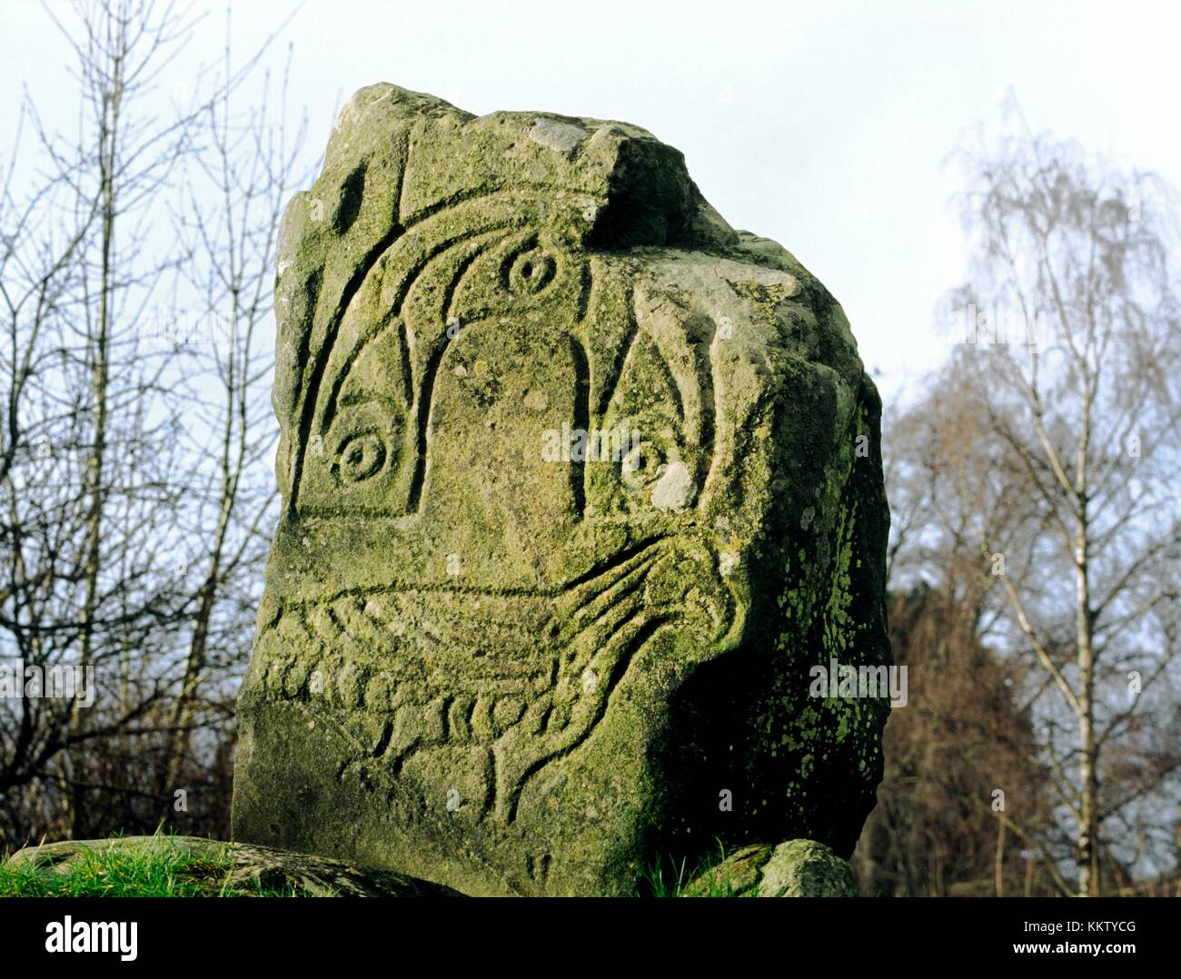 Eagle bird motif carved on Pictish monument known as the Eagle Stone at Strathpeffer, Cromarty, Highland region, Scotland. Stock Photo