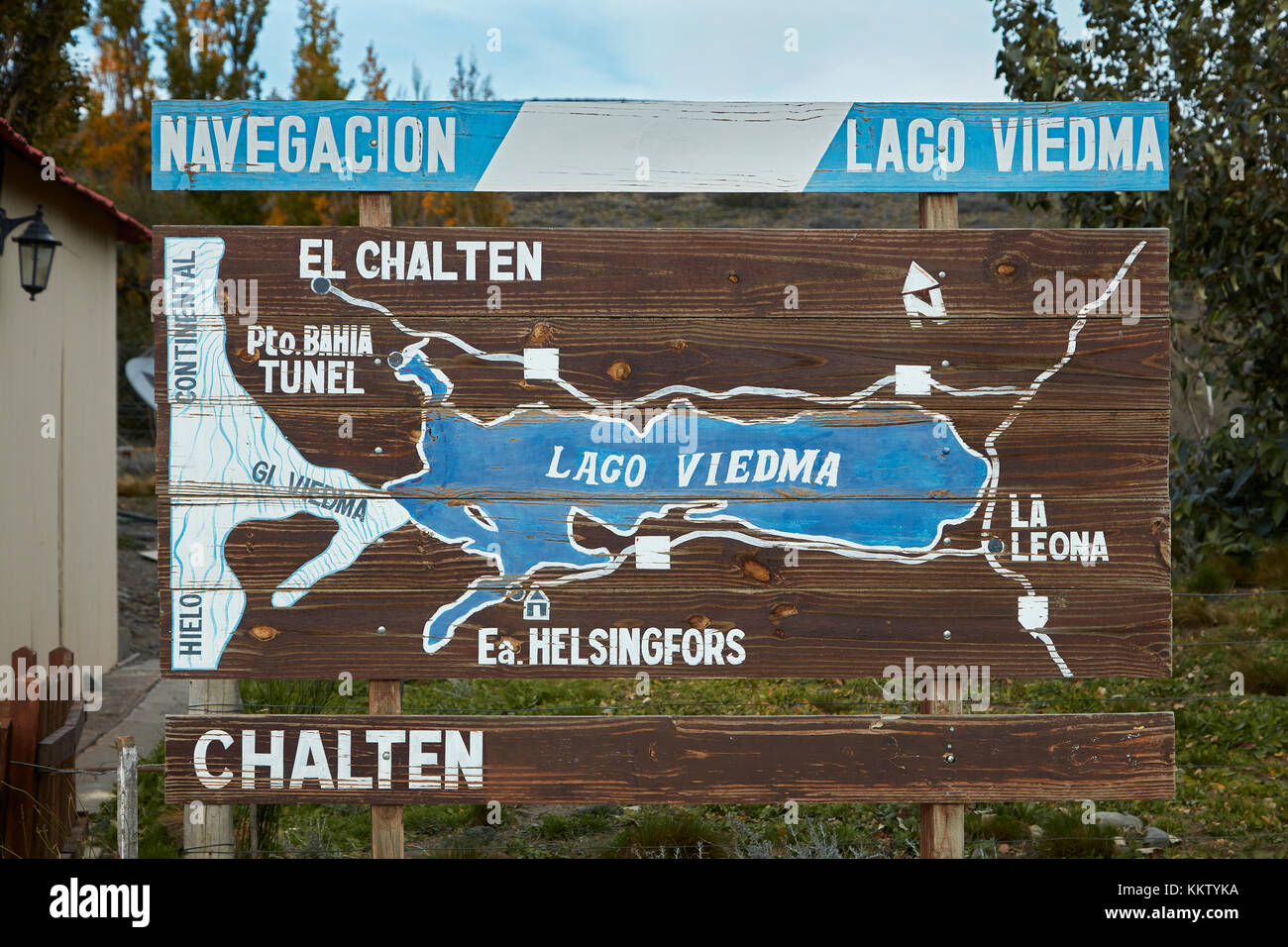 Road map at Hotel La Leona, Route 40, Patagonia, Argentina, South America - Stock Image