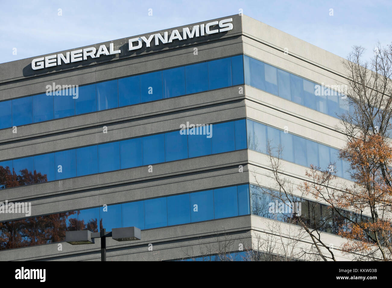 A logo sign outside of a facility occupied by General Dynamics in