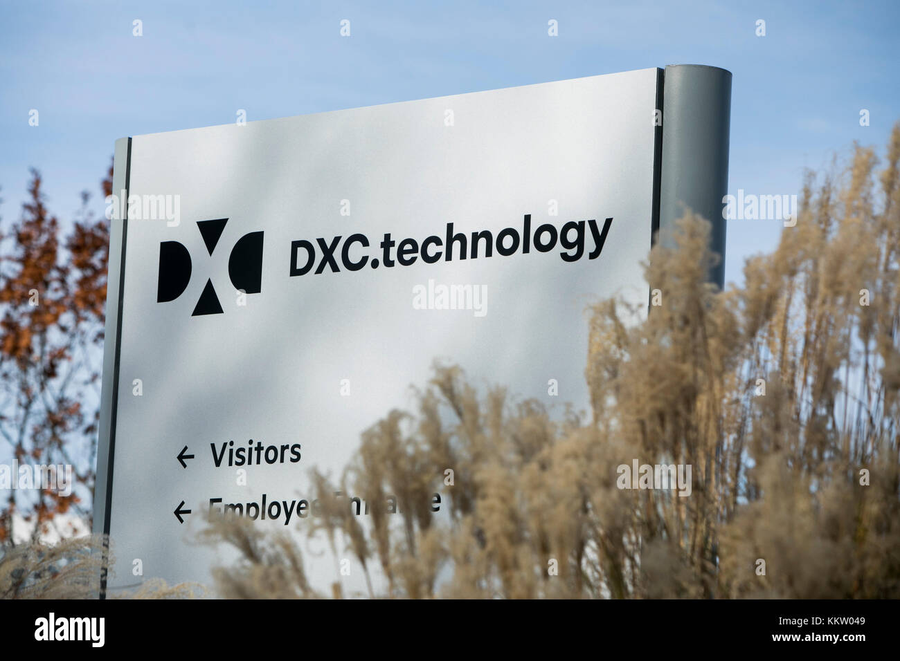 A logo sign outside of a facility occupied by DXC Technology