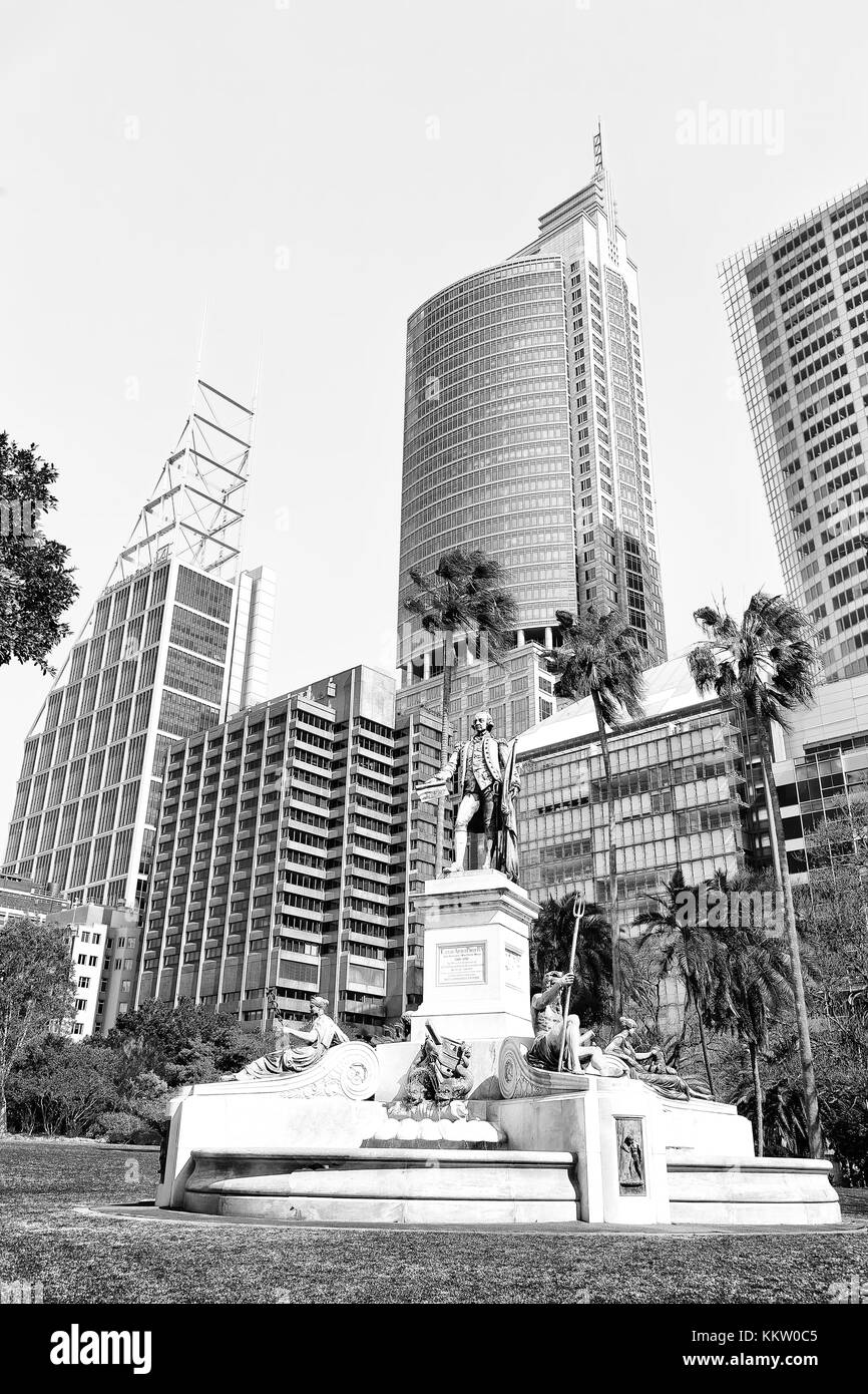 in  austalia  the antique state in the park near the skyscrapers - Stock Image