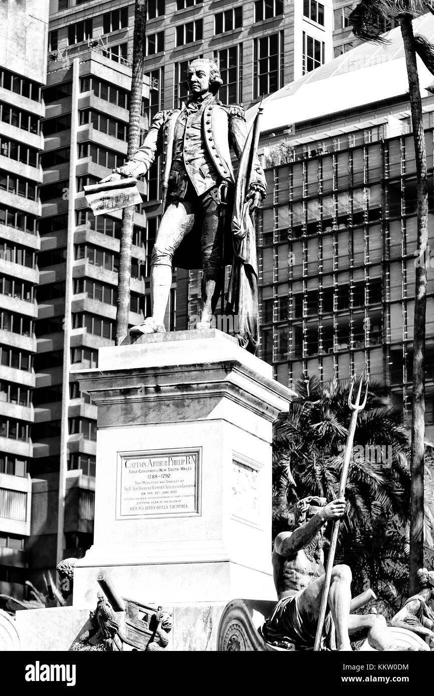 in  austalia  the antique statue in the park near the skyscrapers - Stock Image