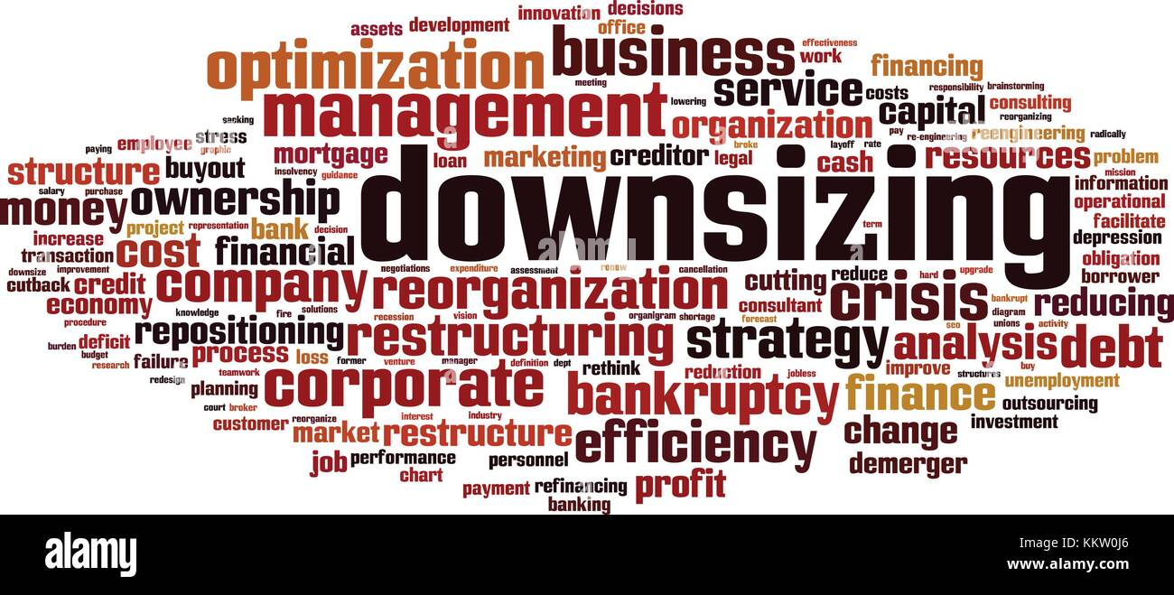 Downsizing word cloud concept. Vector illustration - Stock Vector