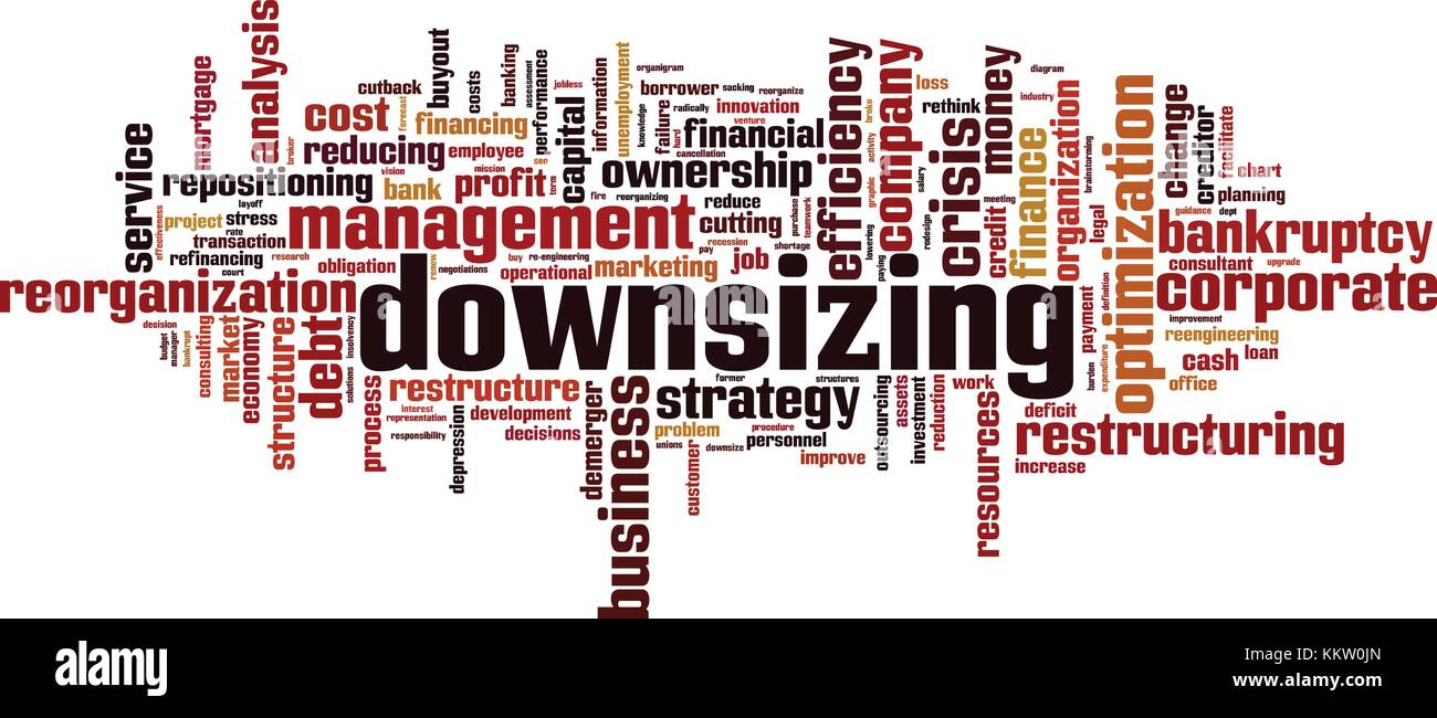 Downsizing word cloud concept. Vector illustration - Stock Image