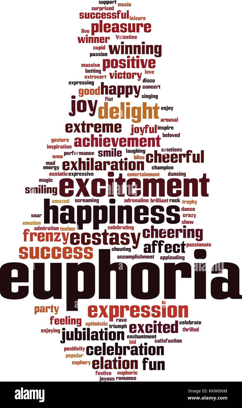 Euphoria word cloud concept. Vector illustration - Stock Vector