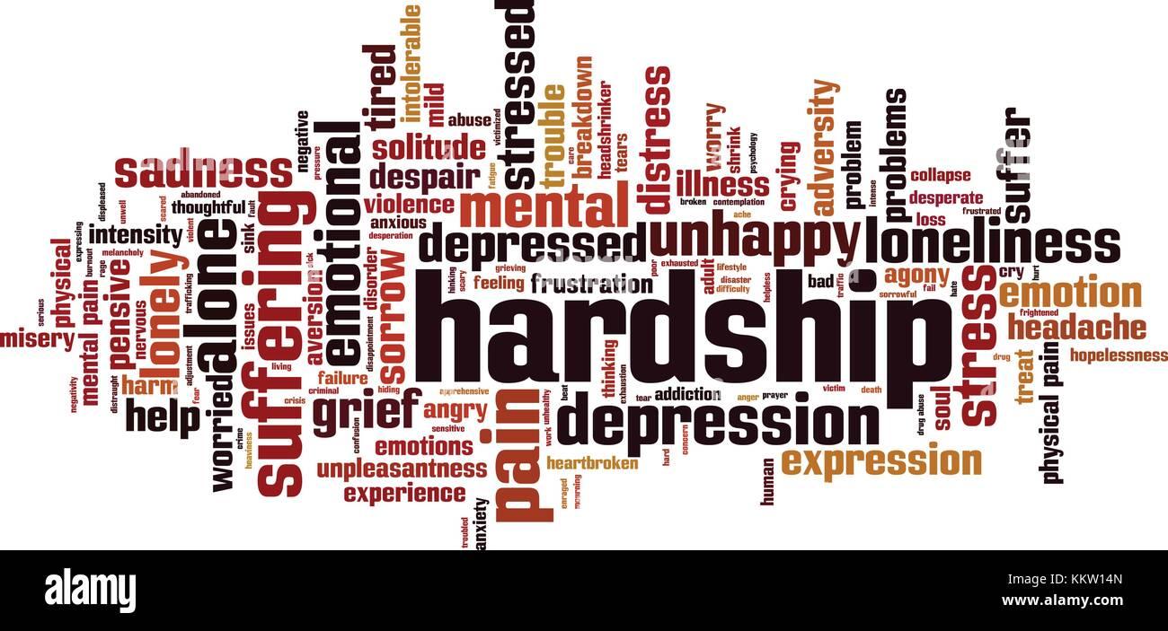 Hardship word cloud concept. Vector illustration - Stock Image