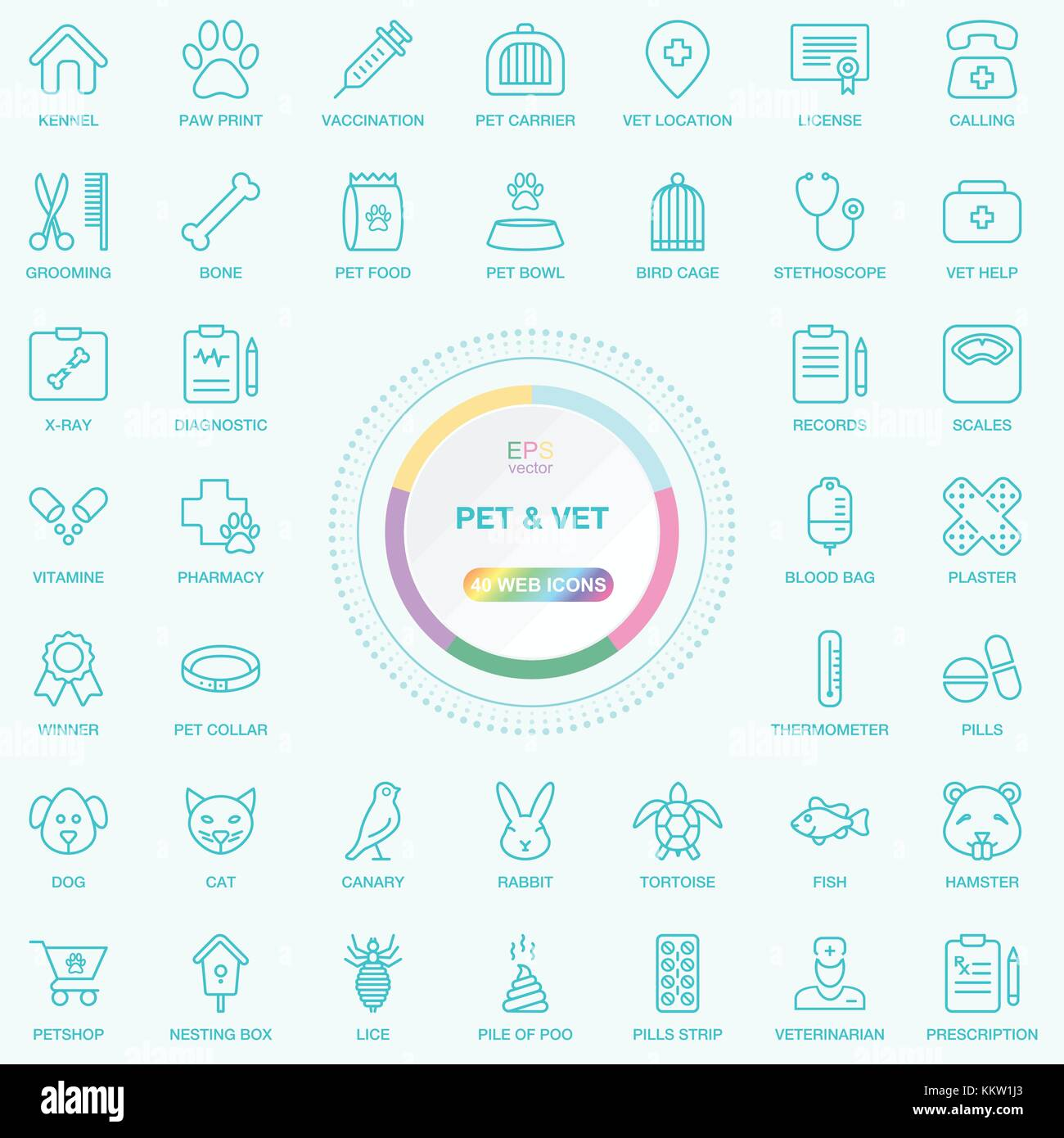 Universal Web And Internet Pet and Vet Line Icons Set. Web, Blog And Social Media Buttons. Vector Illusitration - Stock Vector